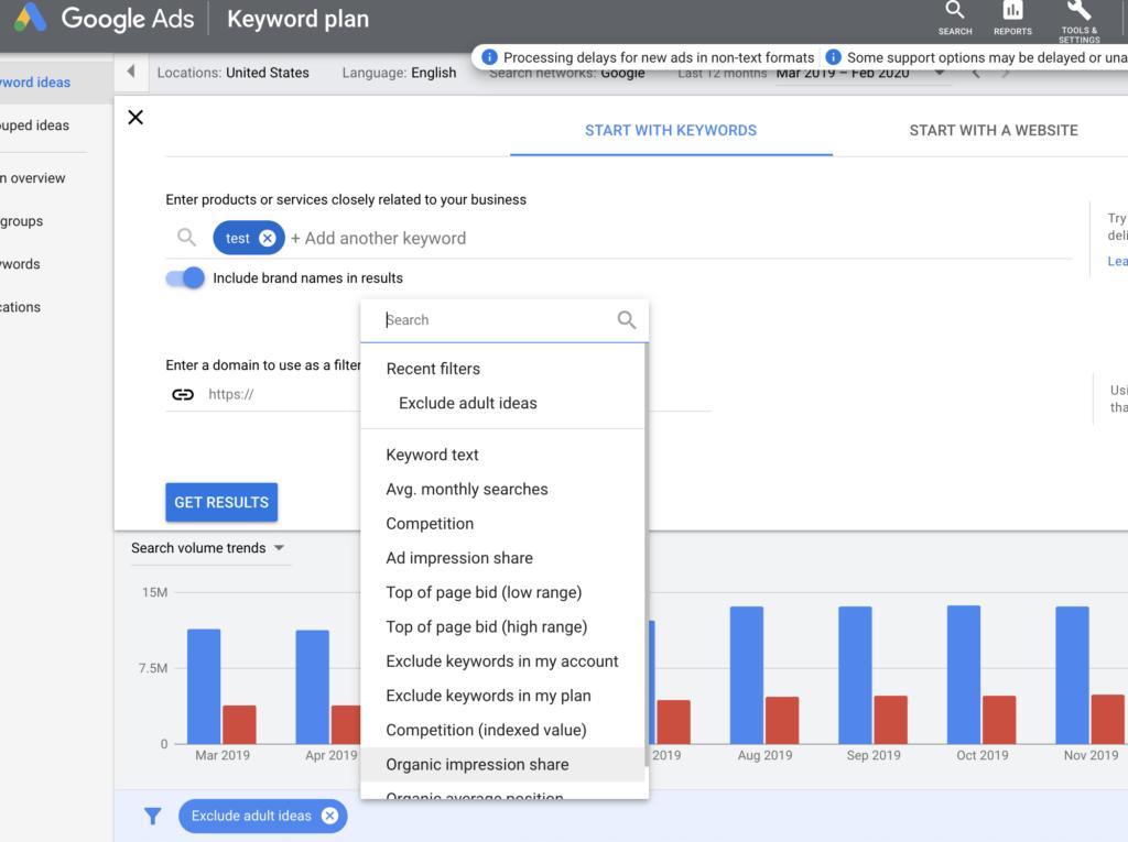 google keyword tool filters