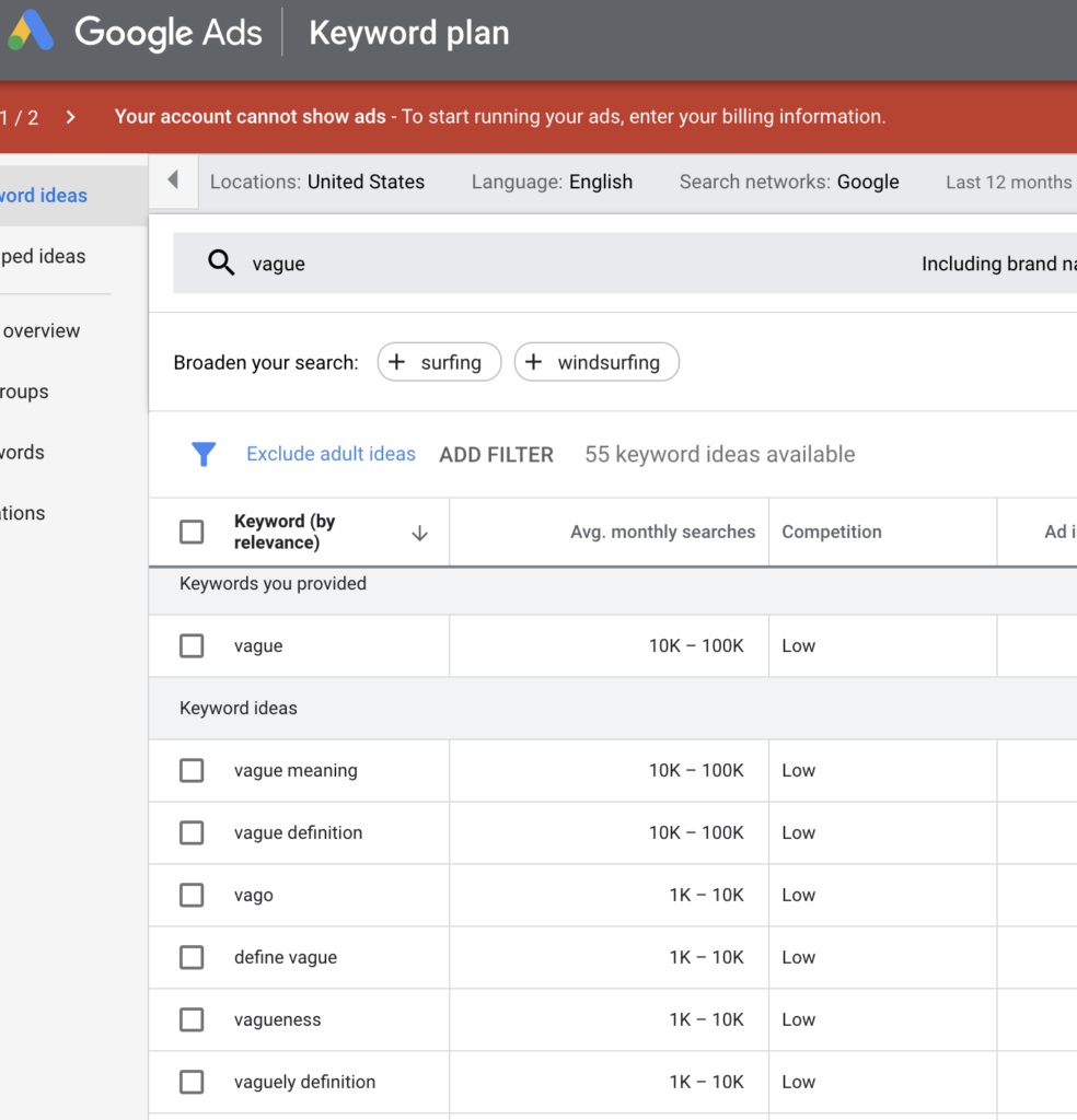 google keyword tool search range estimate